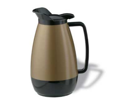 Service Ideas TS101KB 1-liter Coffee Server w/ Flip Top, Smooth Body, Gold & Black