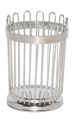 Service Ideas WBB5PS 5-in Wire Breadstick Basket w/ Weighted Base, Polished Stainless