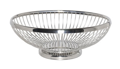 Service Ideas WBBO9PS 9-in Oval Wire Basket w/ Weighted Base, Polished Stainless