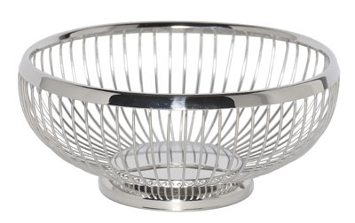 """Service Ideas WBR7PS 7"""" Round Wire Basket w/ Weighted Base, Polished Stainless"""