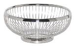 Service Ideas WBR9PS 8.5-in Round Wire Basket w/ Weighted Base, Polished Stainless