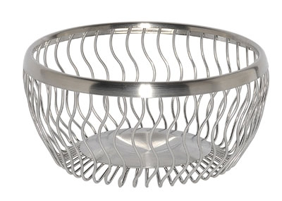 "Service Ideas WBRW7BS 7"" Round Wire Basket, Wavy, Brushed Stainless"