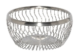 Service Ideas WBRW9BS 9-in Round Wire Basket, Wavy, Brushed Stainless