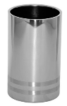 Service Ideas WC2LBPS Wine Chiller, Polished Stainless w/ Brushed Band Accent