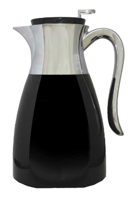 Service Ideas WES1BL 1-liter Carafe w/ Push Button Lid, Chrome-Plated Handle, Black
