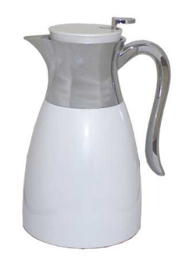 Service Ideas WES1WH 1-liter Carafe w/ Push Button Lid, Chrome-Plated Handle, White