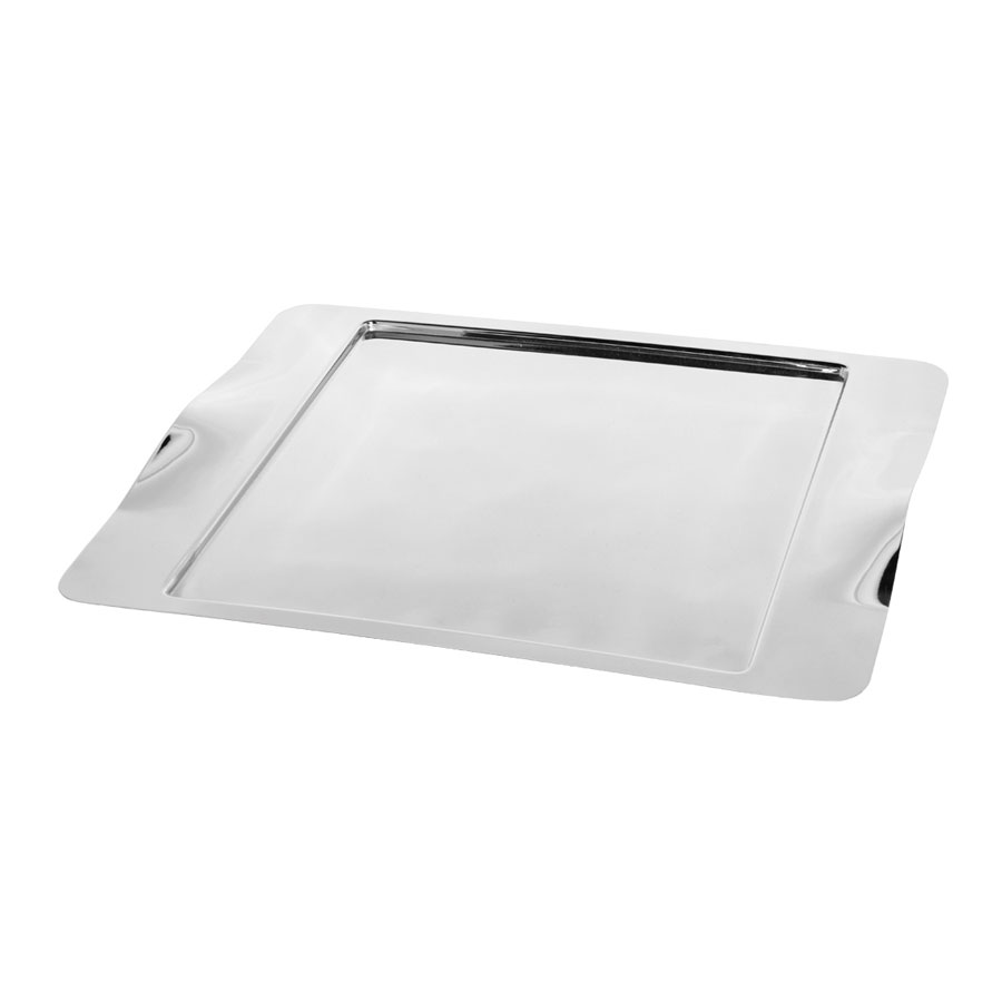 "Service Ideas SM-43 Rectangular Tray w/ Contoured Handles, 16 x 13"", Stainless, Mirror Finish"