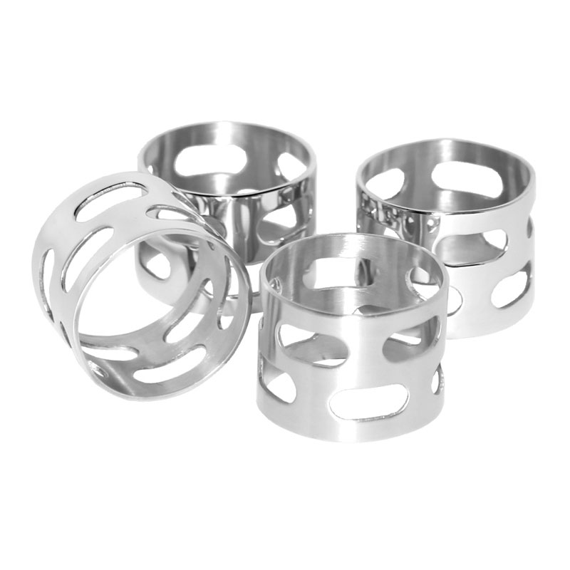 "Service Ideas SM-67 1.5"" Napkin Ring Set, Stainless, Mirror Finish"