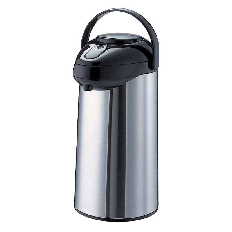 Service Ideas SSA250 2.5-liter Airpot w/ Interchangeable Pump Lid, Stainless & Black