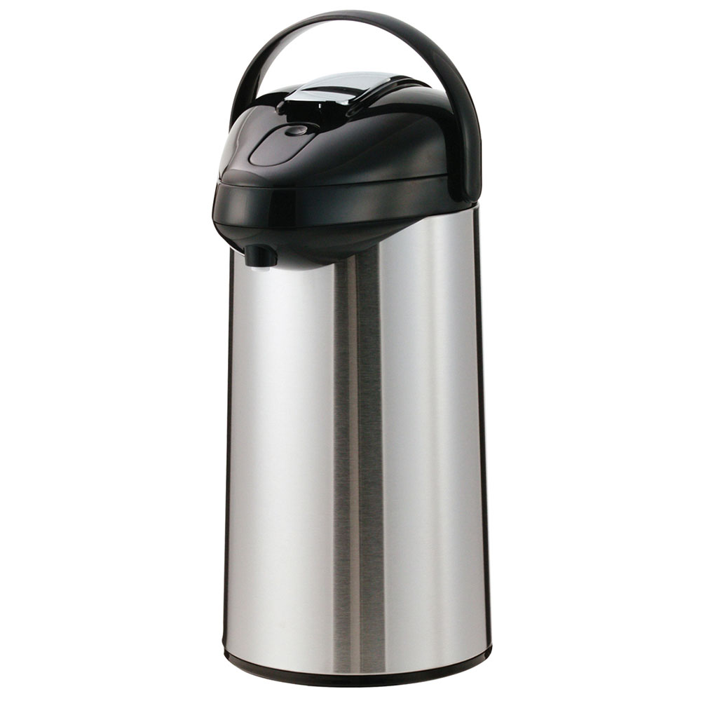 Service Ideas SSAL375 3.75-liter Airpot w/ Interchangeable Lever Lid, Stainless & Black
