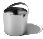 Service Ideas SB-1 2.4-qt Ice Bucket, Double Wall Insulation & Lid w/ Silicone Knob, Brushed Finish