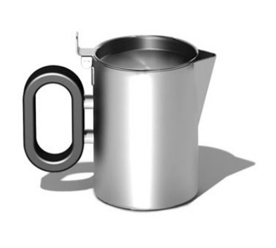 """Service Ideas SB-25 5-oz Creamer w/ Lid, Opens 180-Degrees, 2.5 x 2.75"""", Brushed Finished"""