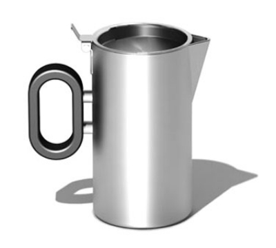 """Service Ideas SB-26 9-oz Creamer w/ Lid, Opens 180-Degrees, 2.5 x 4.2"""", Brushed Finished"""