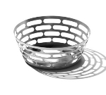"Service Ideas SB-64 9"" Round Bread Basket, Stainless w/ Brushed Finish"