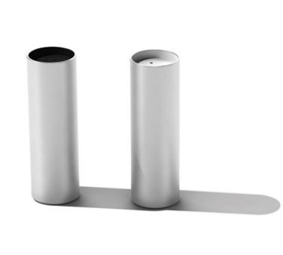 Service Ideas SB-65 Salt & Pepper Shaker Set, Cylindrical w/ Colored Tops, Stainless, Brushed Finish