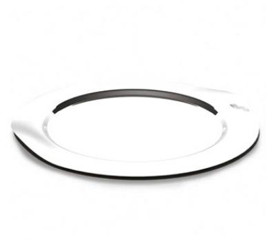 "Service Ideas SM-40 16"" Round Tray w/ Contoured Handles, Stainless, Mirror Finish"