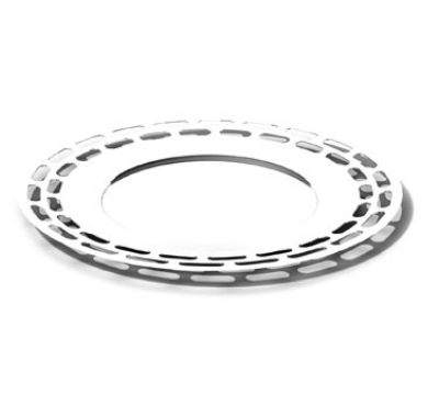 "Service Ideas SM-47 15"" Heavy Round Tray, Stainless, Mirror Finish"