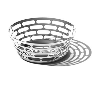 "Service Ideas SM-64 9"" Round Bread Basket, Stainless w/ Mirror Finish"