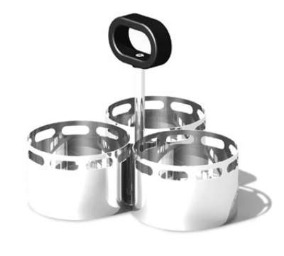 "Service Ideas SM-72 Snack Caddy w/ 3-Compartments, 3.25 x 2.5"" Bowls, Stainless, Mirror Finish"