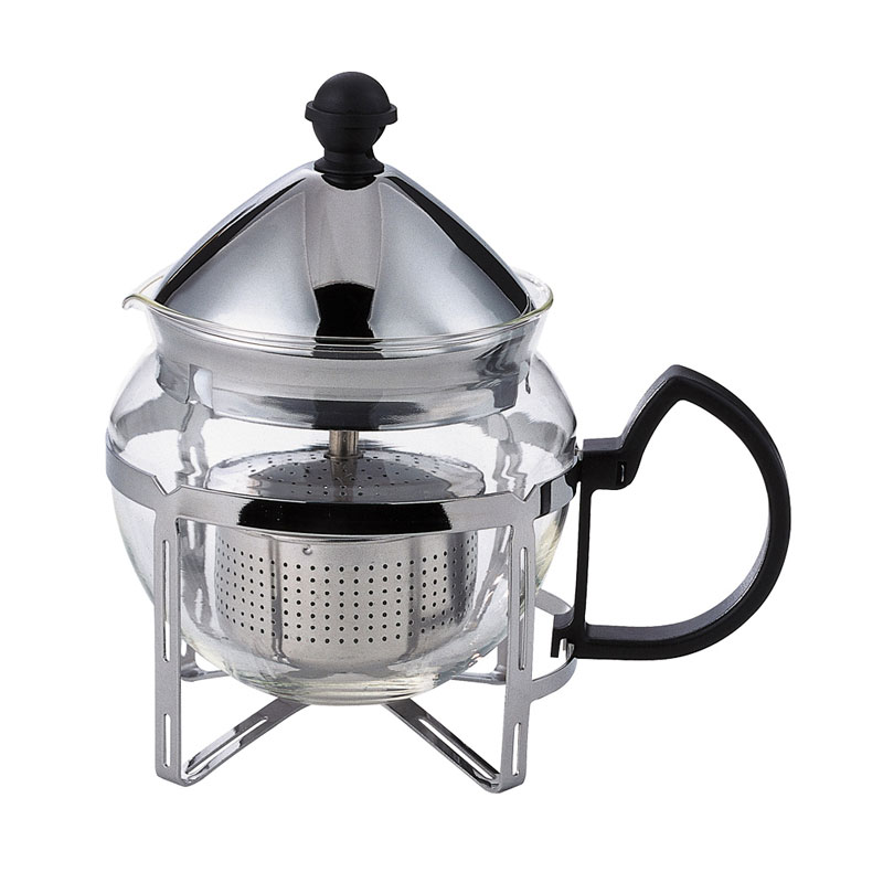 Service Ideas T600CC .6-liter Tea Press w/ Glass Pitcher, Metal Holder, Chrome Finish