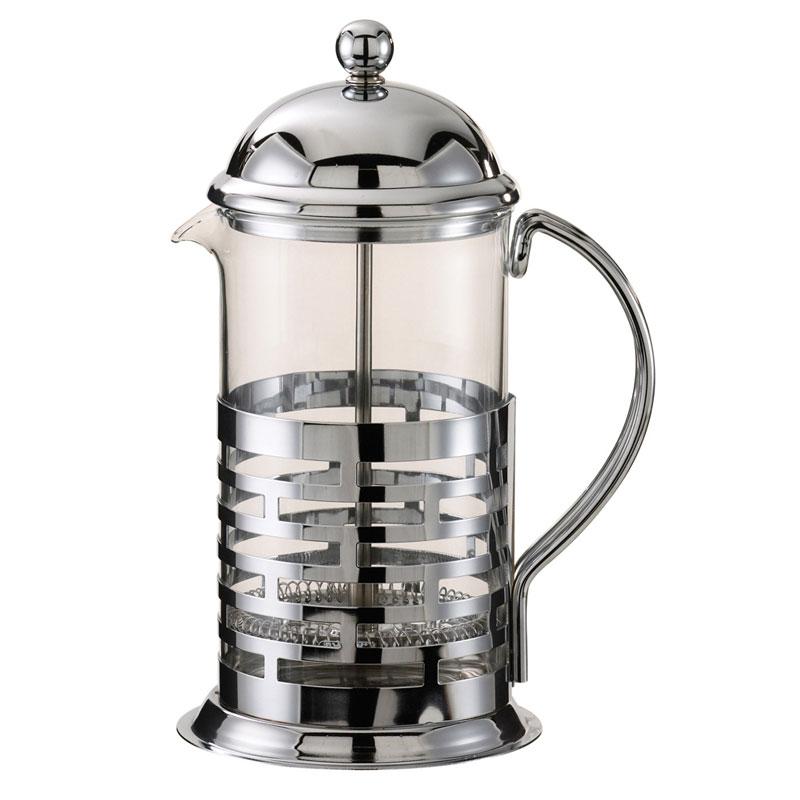 Service Ideas T877B 1-liter Coffee Press w/ Glass Liner, Brick Design, Chrome