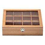 "Service Ideas TB012BN Tea Box w/ 12-Compartments, Window, 11.5 X 10.75 X 2.75"", Bamboo"