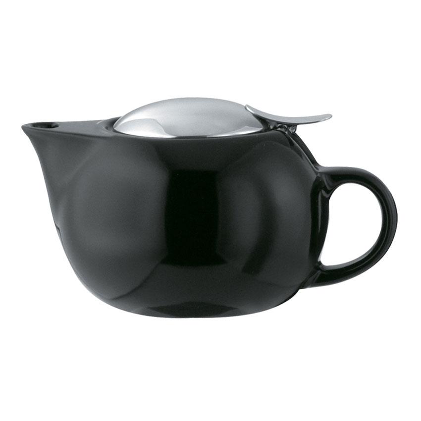 Service Ideas TPC10BL 10-oz Teapot w/ Lid, Infuser Basket, Black Ceramic
