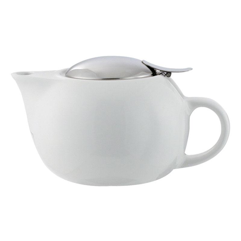 Service Ideas TPC16WH 16-oz Teapot w/ Lid, Infuser Basket, White Ceramic