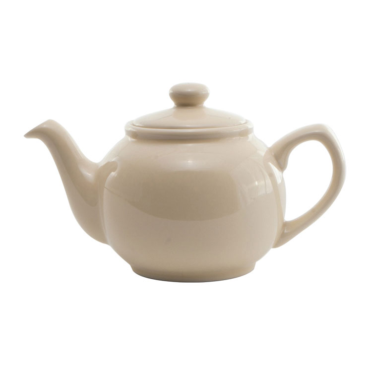 Service Ideas TPCE16CM 16-oz English-Style Teapot, Cream Ceramic
