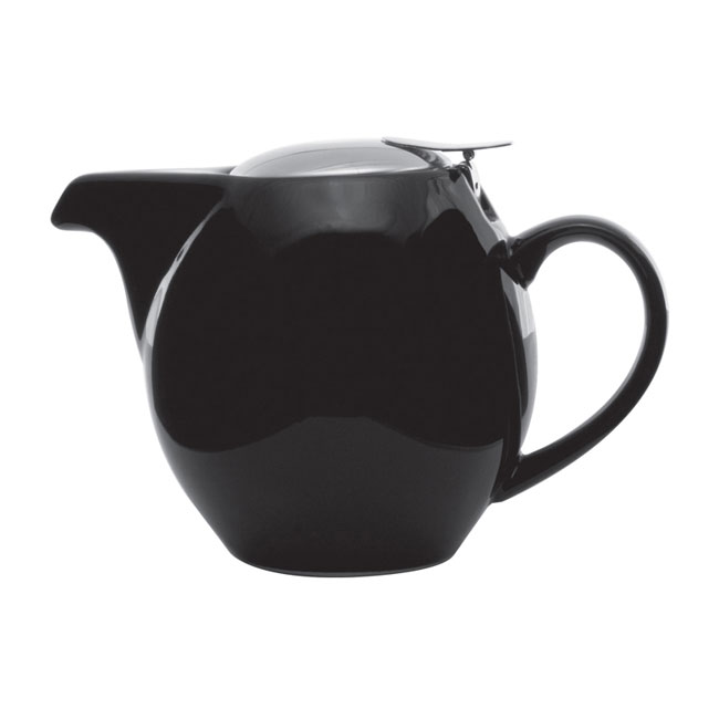 Service Ideas TPCV16BL 16-oz Oval-Style Teapot w/ Lid & Infuser Basket, Black Ceramic