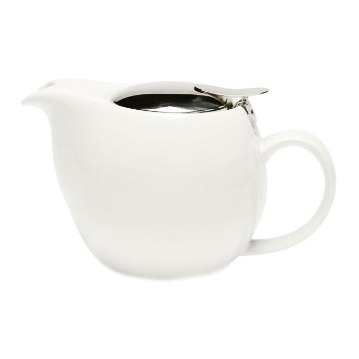Service Ideas TPCV16WH 16-oz Oval-Style Teapot w/ Lid & Infuser Basket, White Ceramic