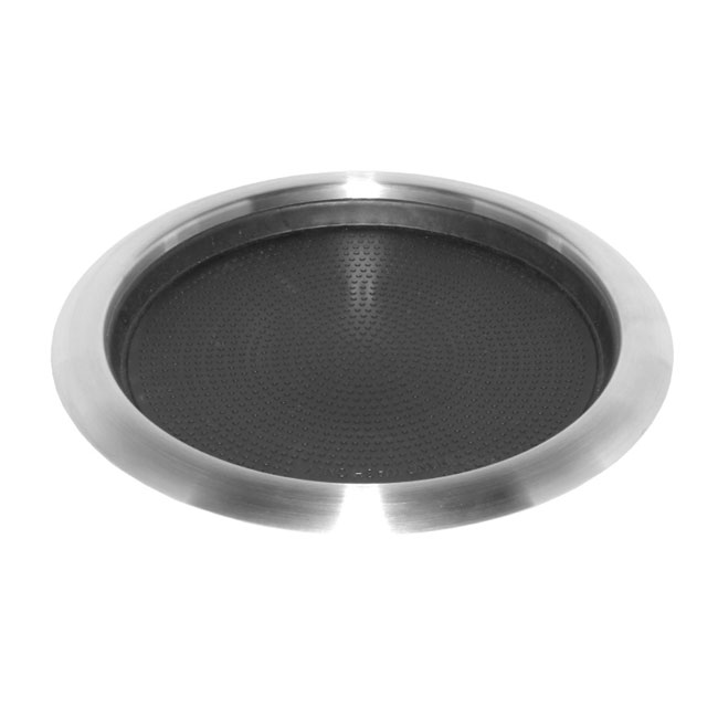 """Service Ideas TR119RI 11"""" Non-Slip Tray w/ Rubber Insert, Molded Grips, Stainless"""