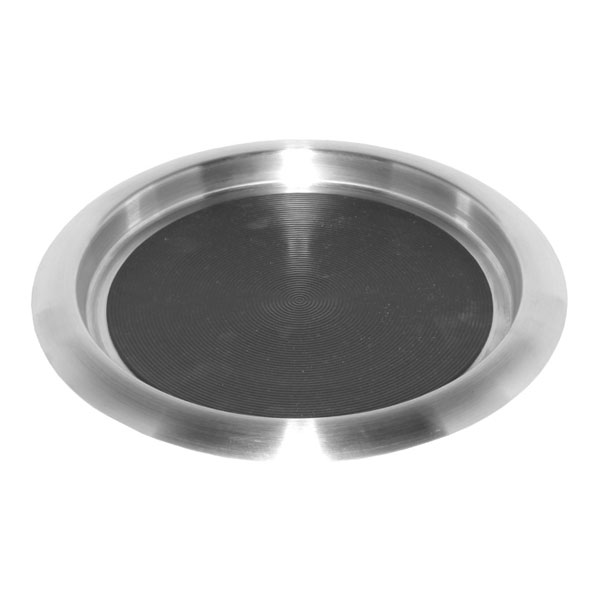 "Service Ideas TR119SR 11"" Non-Slip Tray w/ Solid Rubber Insert, Stainless"