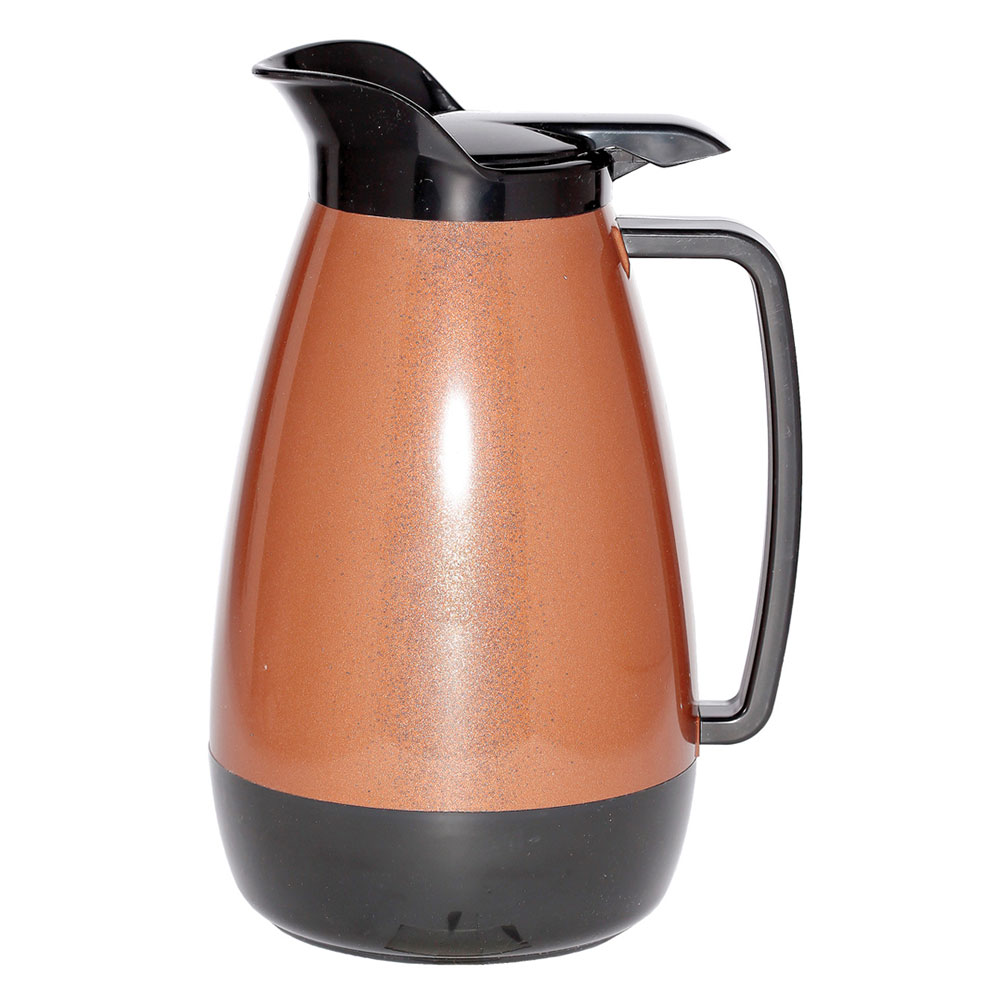 Service Ideas TS101CB 1-liter Coffee Server w/ Flip Top, Smooth Body, Copper & Black
