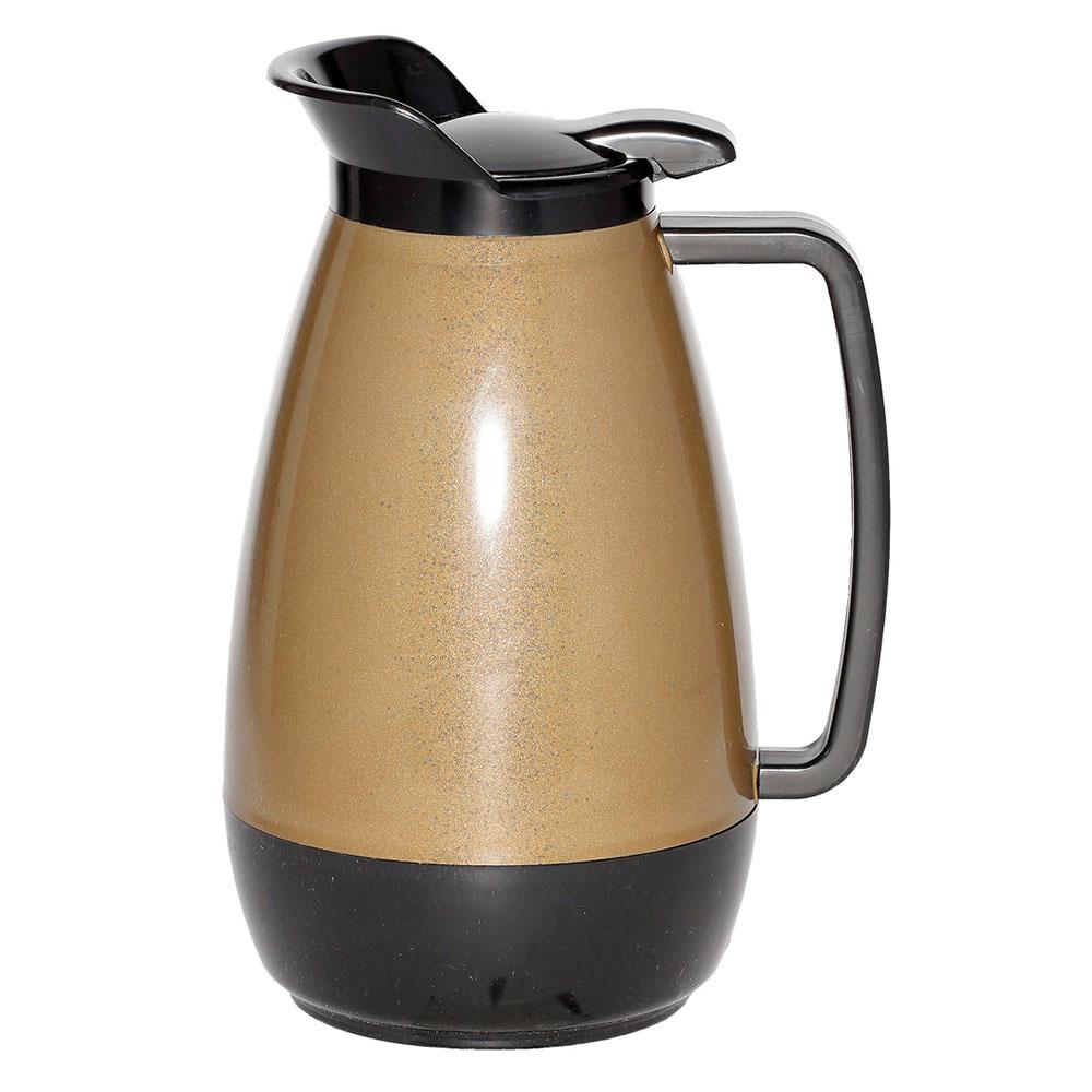 Service Ideas TS101KB 1-liter Coffee Server w/ Flip Top, Smooth Body, Gold & Black