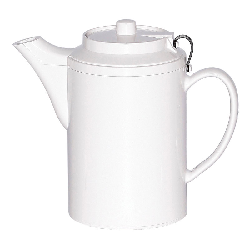 Service Ideas TST612WH 16-oz Dripless Teapot w/ Tether, Baffled Spout, Stoneware & White
