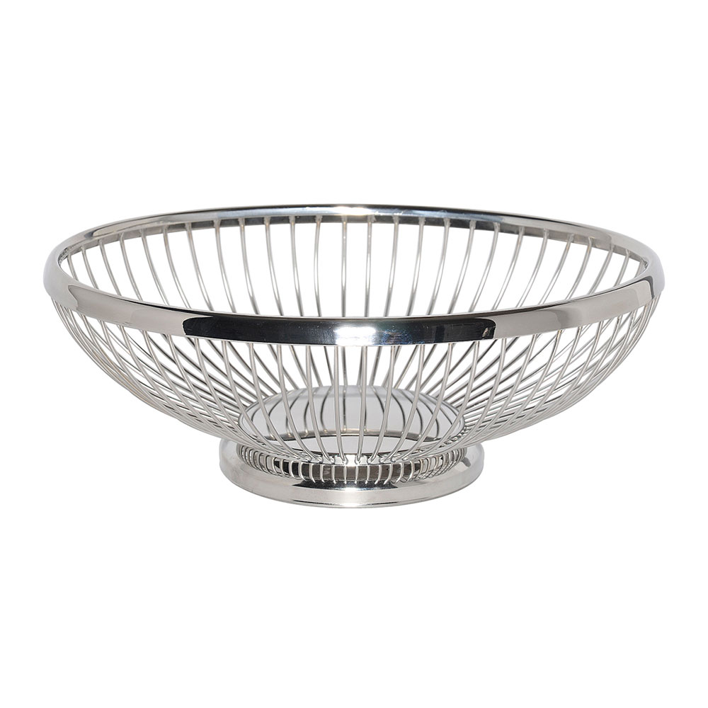 "Service Ideas WBBO9PS 9"" Oval Wire Basket w/ Weighted Base, Polished Stainless"