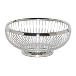 "Service Ideas WBR7PS 7"" Round Wire Basket w/ Weighted Base, Polished Stainless"