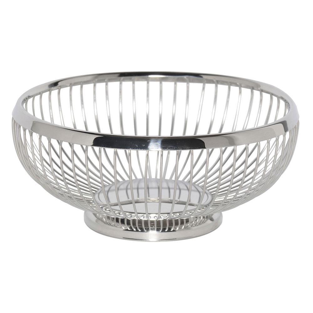 "Service Ideas WBR9PS 8.5"" Round Wire Basket w/ Weighted Base, Polished Stainless"