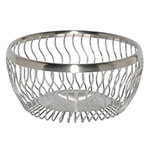 "Service Ideas WBRW9BS 9"" Round Wire Basket, Wavy, Brushed Stainless"