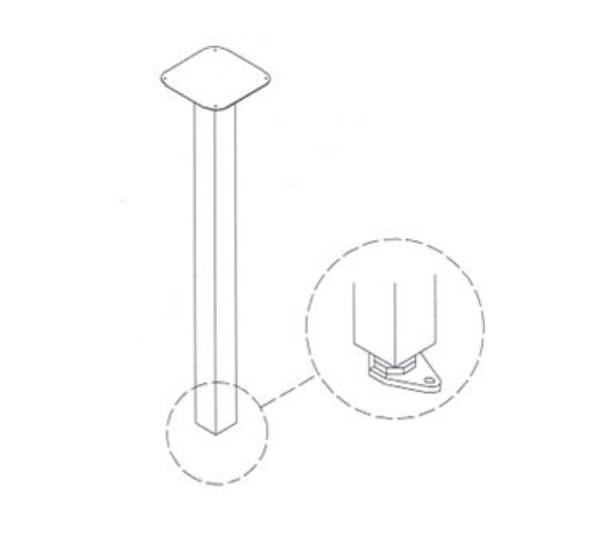 Waymar 0139 Vertical Table Leg, 2 in Square Steel, Black