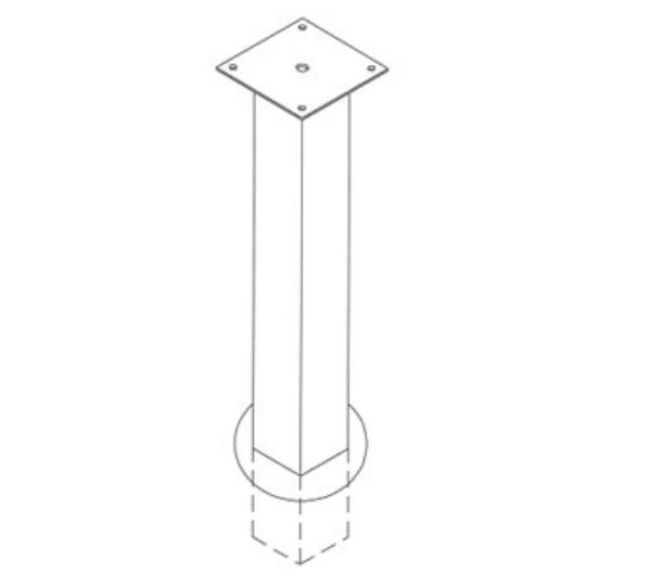 Waymar 0342 Chair Column, Grout In, For 36 in Counter Height, Black