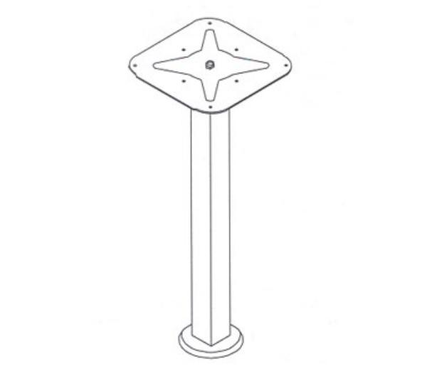 Waymar 0558 Table Column, 2-1/4 in Square Steel, 30 in Counter Height