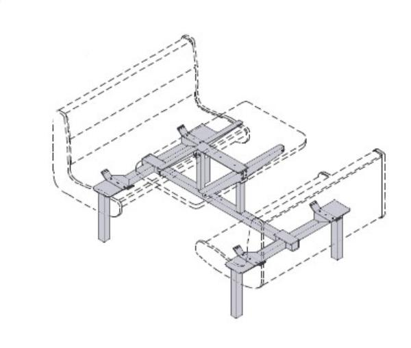 Waymar 0733C Islander Support Frame, Seat Chairs(4), Table, 24 x 47 in or (2) 24 x 24in split