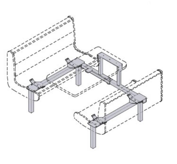 Waymar 0735 Islander Support Frame Only, Wall Style, Seats (59-61) & Table (24 x 59,61)