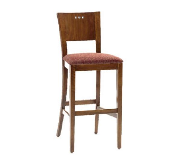 Waymar B094 Napa Bar Stool, Wood Panel Back w/3 Circle Cutouts, 1-1/2 in Upholstered Seat