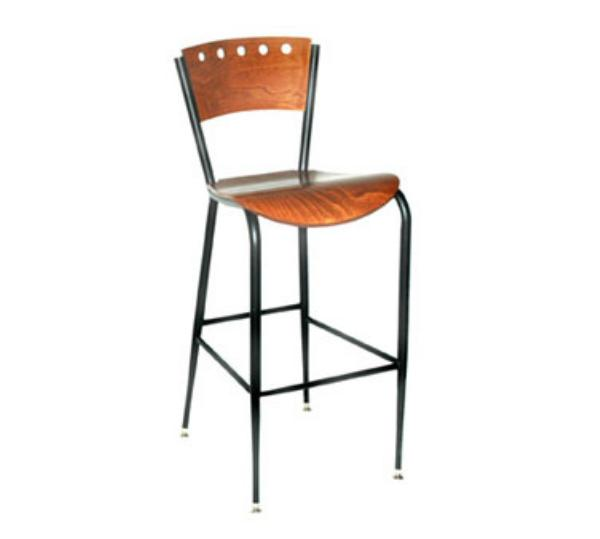 Waymar B1318AWS Uptown Bar Stool, Contoured Wood Back w/5 Holes, Solid Beech Seat