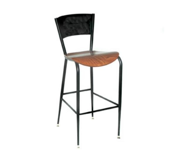 Waymar Industries B1318LCWS Uptown Bar Stool Metal Back Solid Beech Seat Restaurant Supply
