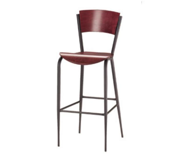 Waymar B1318WS Uptown Bar Stool, Contoured Wood Back, Solid Beech Seat