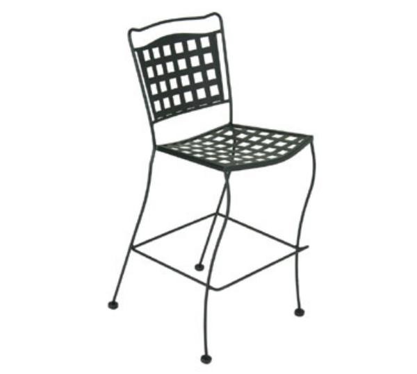 Waymar B1809 Patio Barstool, Grid Back, Wrought Iron